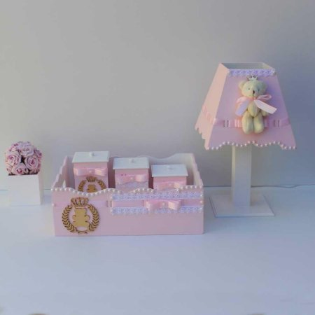 Kit Higiene MDF - Rosa com Urso Coroado