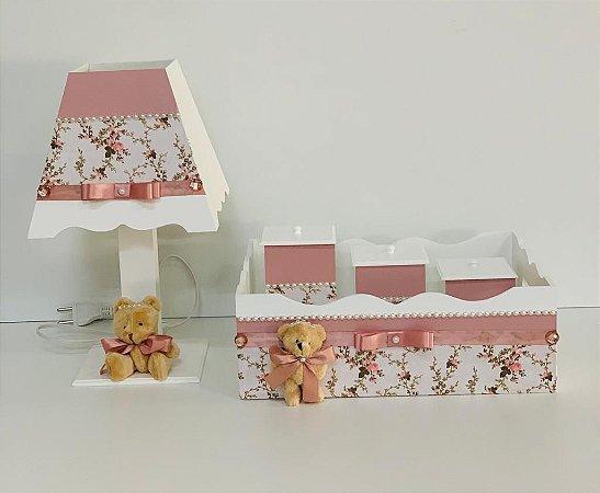 Kit Higiene bebê tema jardim da ursa cor rosê 5 peças