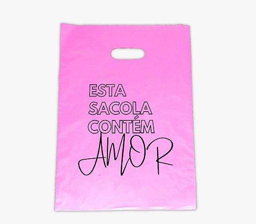 Sacola Estampada 30x40 Rosa