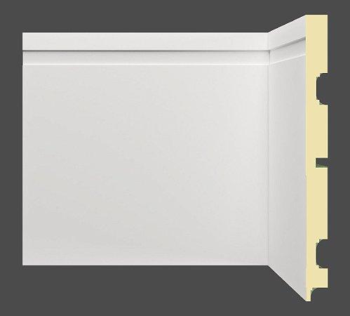 Rodapé e Guarnição Branco em MDF 20cm com friso moderno - preço por barra com 2,40 metros lineares * com vão para passar fio