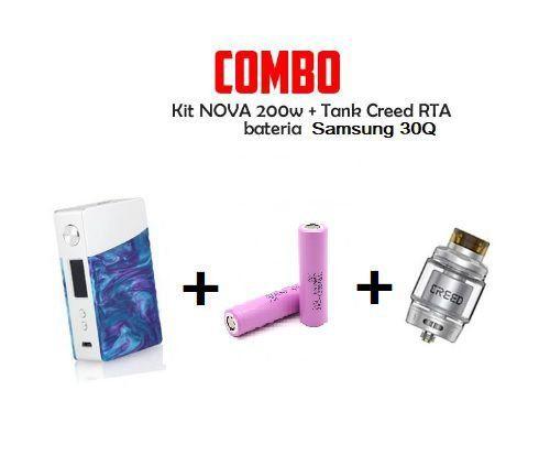 Combo mod NOVA 200W Com 2 Baterias VTC6 Com  Atomizador CREED RTA - Geekvape