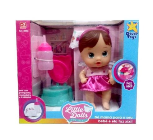 Boneca Faz Xixi Morena - Little Dolls - Divertoys