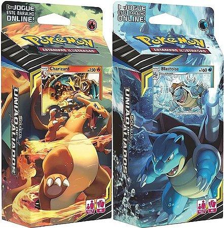 2 Decks Pokémon Sol & Lua 9 União De Aliados Charizard e Blastoise - Copag