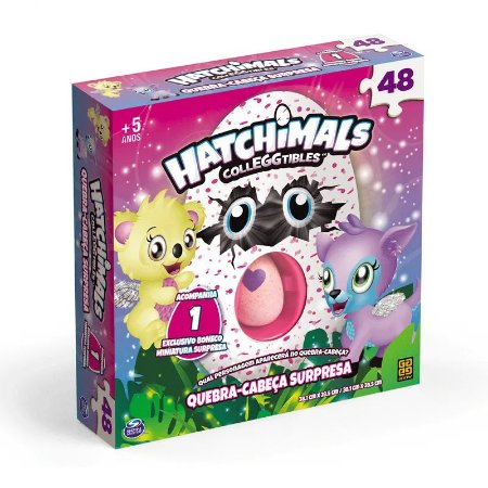 Quebra-Cabeça - Hatchimals - 48 peças - Ovinho Surpresa - Grow