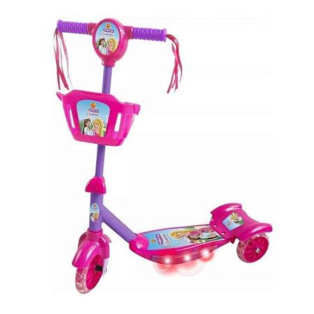 Patinete Musical Com Cesta Sonho De Princesa - Dm Toys