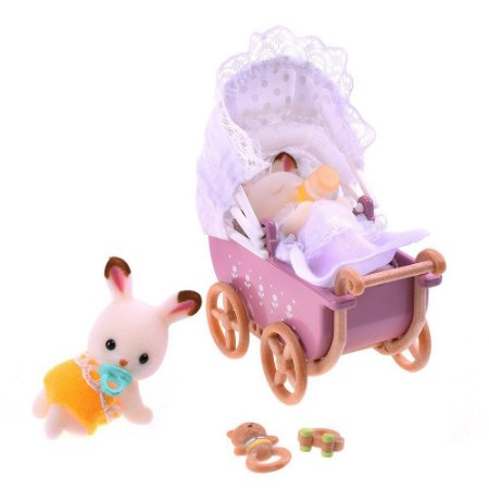Bebê Gêmeos Coelho Chocolate e Carrinho de Bebê Sylvanian Families - Epoch