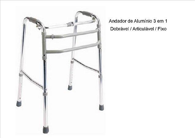 Andador de Alumínio 3 em 1 / Dobrável / Articulável / Fixo- 130kg
