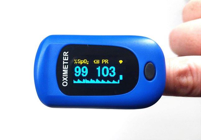 Oximetro de Dedo Adulto Azul alta resistência e precisão.