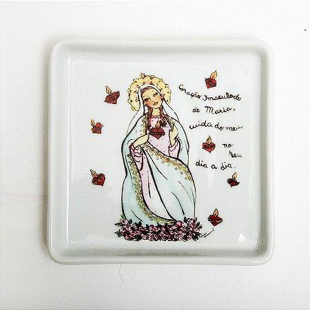 Prato Quadrado Coração de Maria - Linha Santeiro