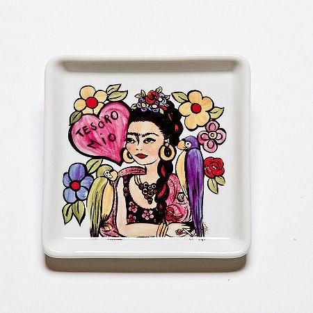 Prato Quadrado Pequeno Frida Flores - Linha Frida