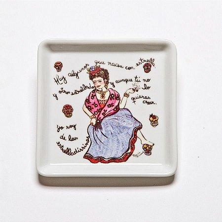 Prato Quadrado Pequeno Frida Caveiras - Linha Frida