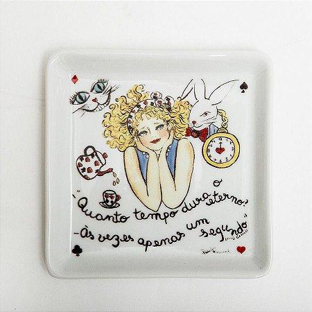 Prato Quadrado Alice - Linha Frases