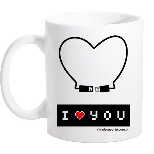 Caneca Branca I Love You USB