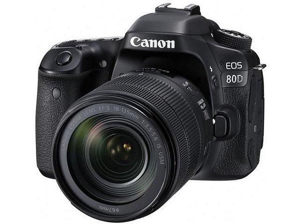 Câmera Canon EOS 80D com Lente 18-135mm f/3.5-5.6 IS Nano USM