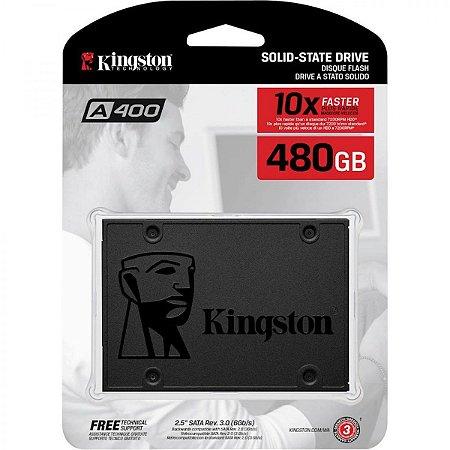 SSD Interno Kingston A400 SATA Leitura 500MB/s Gravação 450MB/s SA400S37 480GB