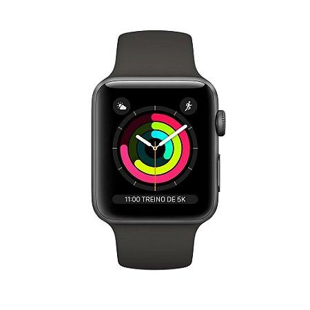 Apple Watch Series 3 38mm Alumínio Cinza Espacial Pulseira Esportiva Cinza Espacial