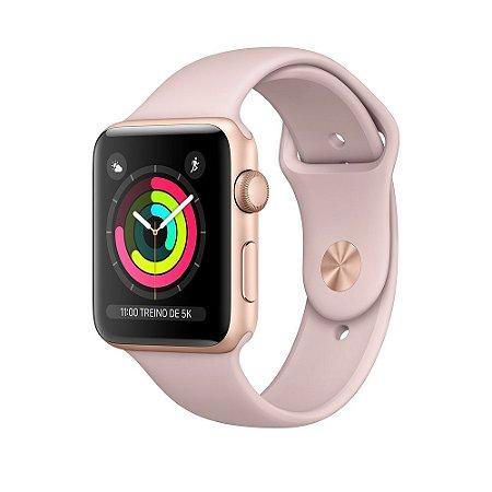 Apple Watch Series 3 38mm Alumínio Dourado Pulseira Esportiva Areia Rosa