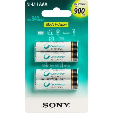 Pilha Recarregável Sony 900mah cartela com 4 unidades AAA Palito