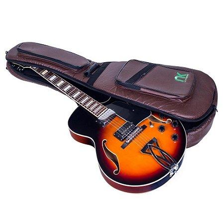 Bag Couro Reconstituído Marrom Guitarra Semi Acústica NewKeepers