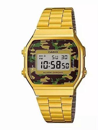 f87442480c9 Relógio Casio retrô Dourado Camuflado - Feitosa´s