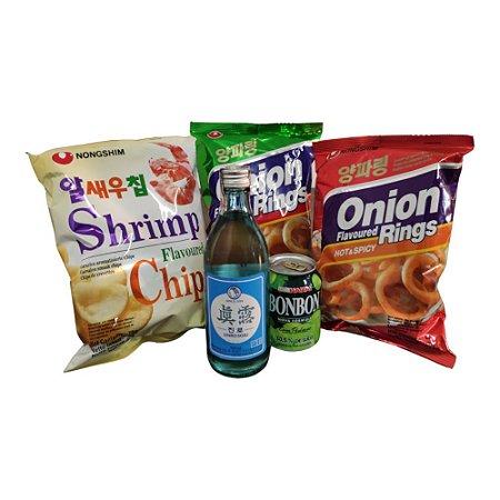 Kit Snacks e Bebidas Coreanos (Suco, Soju e Salgadinhos)