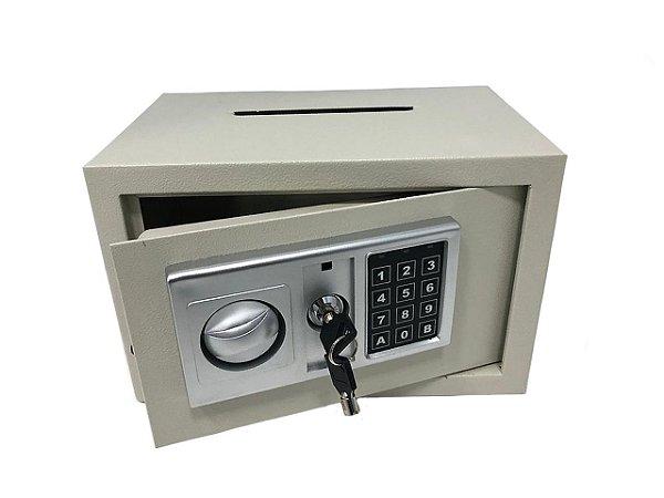 Cofre Eletronico Digital e Manual com Chave Modelo Boca de Lobo 20x31x20
