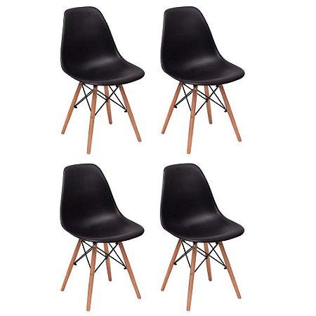 Conjunto 4 Cadeiras Charles Eames Wood Base Madeira - PRETO