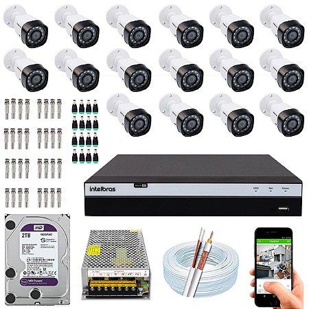 Kit CFTV Intelbras 16 Câmeras VHD 3230 B G4 e DVR de 16 Canais MHDX 3116 2TB WD Purple