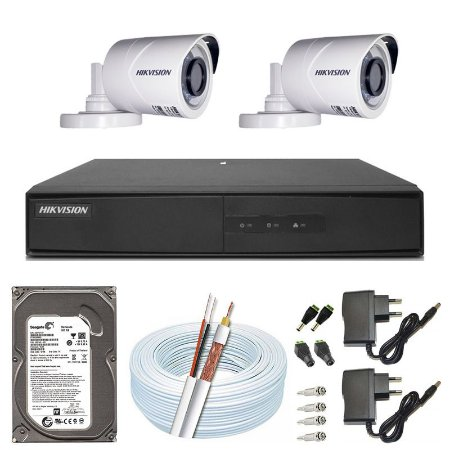 Kit CFTV Hikvision 02 Câmeras THC-B120C-P e DVR de 04 Canais DS-7204