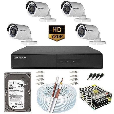 Kit CFTV Hikvision 04 Câmeras DS-2CE16C0T e DVR de 04 Canais DS-7204 500GB
