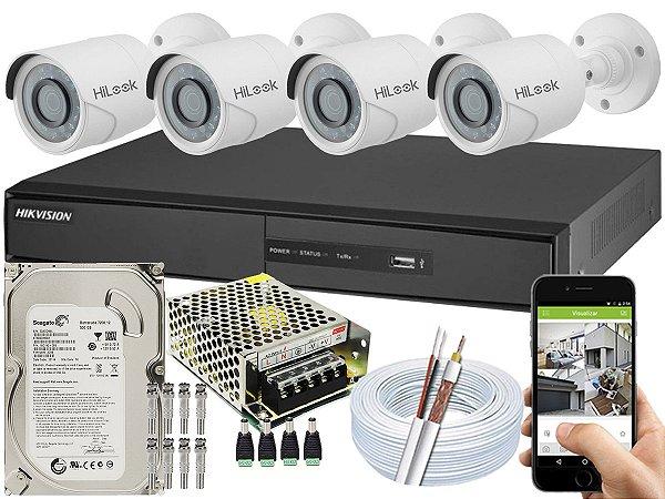 Kit CFTV Hikvision 04 Câmeras THC-B110C-P e DVR de 04 Canais DS-7204 500GB