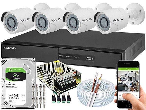 Kit CFTV Hikvision 04 Câmeras THC-B120C-P e DVR de 04 Canais DS-7204
