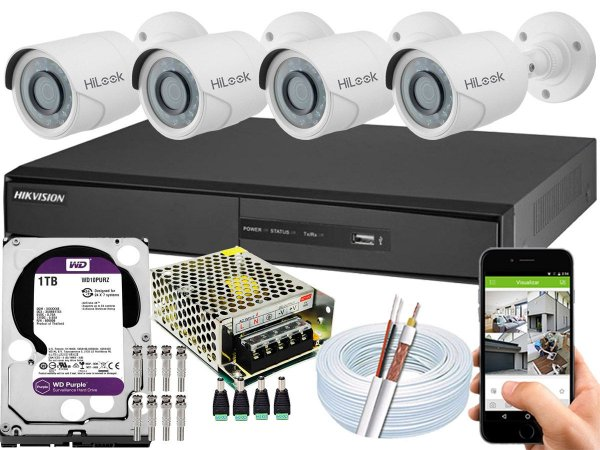Kit CFTV Hikvision 04 Câmeras THC-B120C-P e DVR de 04 Canais DS-7204 1TB WD Purple