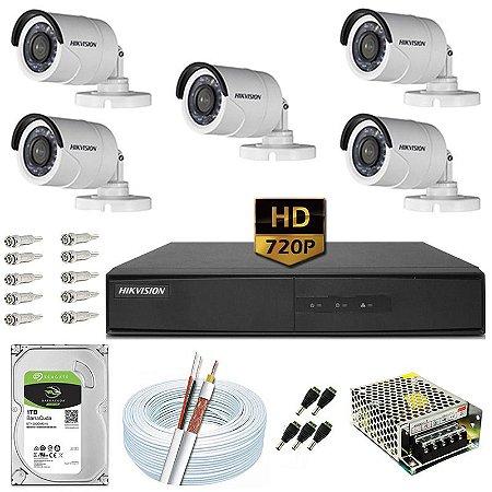 Kit CFTV Hikvision 05 Câmeras DS-2CE16C0T e DVR de 08 Canais DS-7208