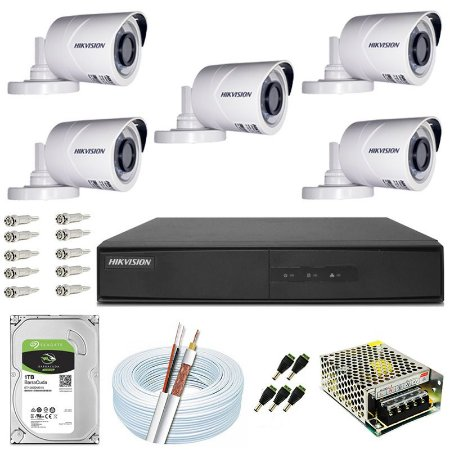 Kit CFTV Hikvision 05 Câmeras THC-B120C-P e DVR de 08 Canais DS-7208