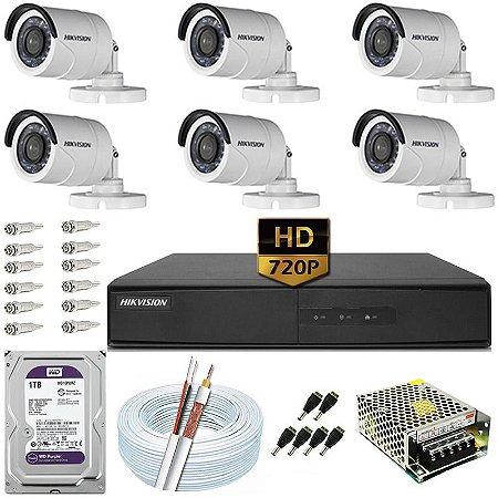 Kit CFTV Hikvision 06 Câmeras DS-2CE16C0T e DVR de 08 Canais DS-7208 1TB WD Purple