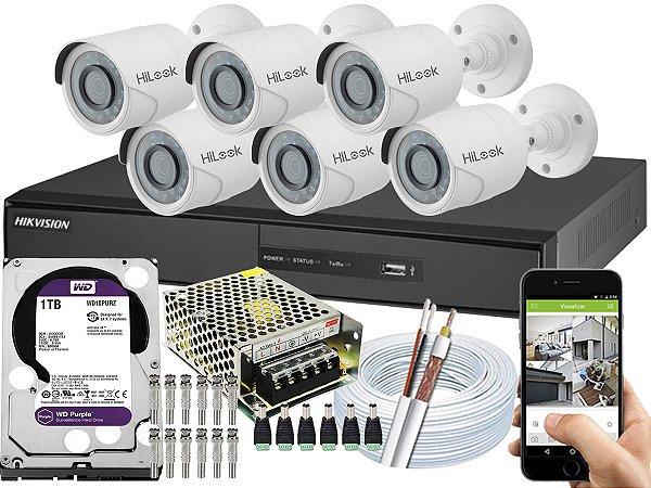 Kit CFTV Hikvision 06 Câmeras THC-B110C-P e DVR de 08 Canais DS-7208 1TB WD Purple
