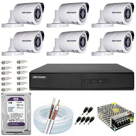 Kit CFTV Hikvision 06 Câmeras THC-B120C-P e DVR de 08 Canais DS-7208 1TB WD Purple