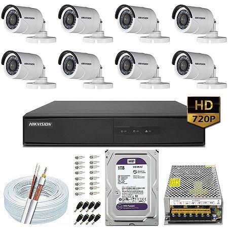 Kit CFTV Hikvision 08 Câmeras DS-2CE16C0T e DVR de 08 Canais DS-7208 1TB WD Purple