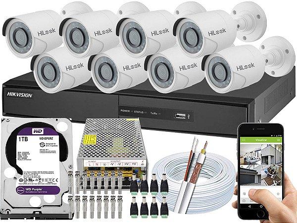 Kit CFTV Hikvision 08 Câmeras THC-B110C-P e DVR de 08 Canais DS-7208 1TB WD Purple