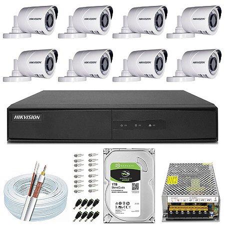 Kit CFTV Hikvision 08 Câmeras THC-B120C-P e DVR de 16 Canais DS-7216