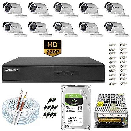 Kit CFTV Hikvision 10 Câmeras DS-2CE16C0T e DVR de 16 Canais DS-7216