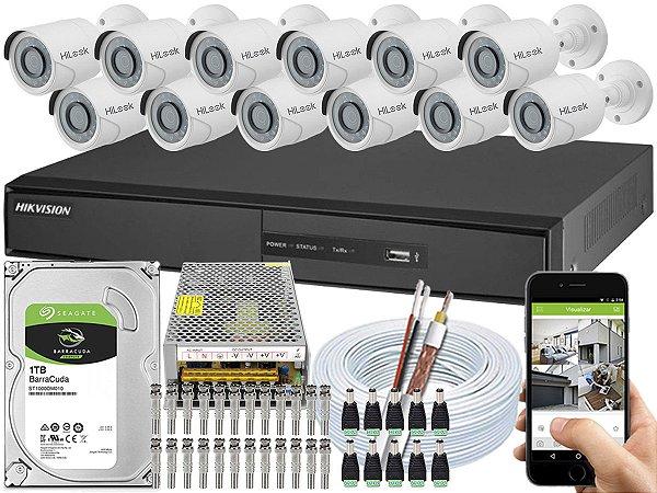 Kit CFTV Hikvision 12 Câmeras THC-B110C-P e DVR de 16 Canais DS-7216