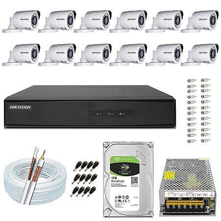 Kit CFTV Hikvision 12 Câmeras THC-B120C-P e DVR de 16 Canais DS-7216