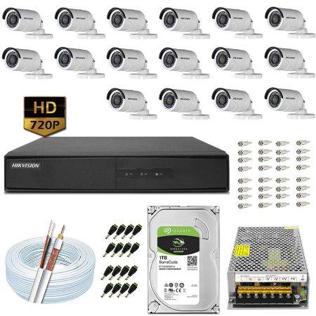 Kit CFTV Hikvision 16 Câmeras DS-2CE16C0T e DVR de 16 Canais DS-7216