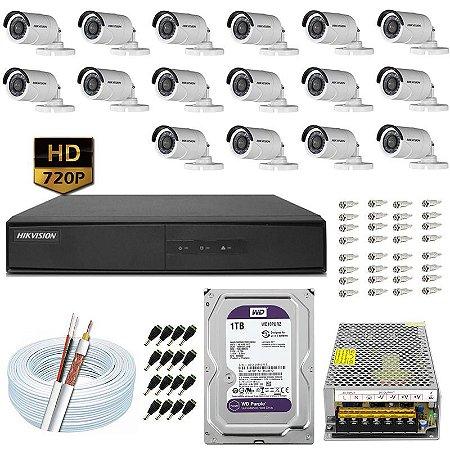 Kit CFTV Hikvision 16 Câmeras DS-2CE16C0T e DVR de 16 Canais DS-7216 1TB WD Purple