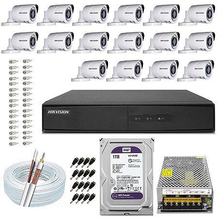 Kit CFTV Hikvision 16 Câmeras THC-B120C-P e DVR de 16 Canais DS-7216 1TB WD Purple