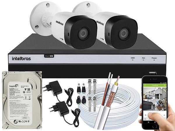 Kit CFTV Intelbras 02 Câmeras VHD 1010 B G5 e DVR de 04 Canais MHDX 3104 500GB