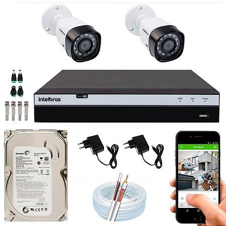 Kit CFTV Intelbras 02 Câmeras VHD 3130 B G4 e DVR de 04 Canais MHDX 3104 500GB