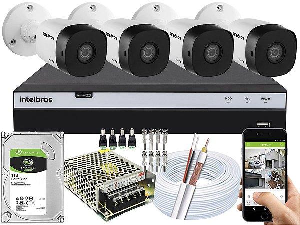 Kit CFTV Intelbras 04 Câmeras VHD 1010 B G5 e DVR de 04 Canais MHDX 3104 1TB